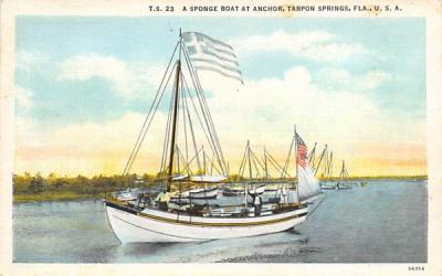 A Sponge Boat at Anchor Tarpon Springs, Florida Postcard