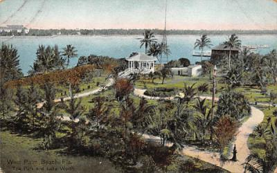 The Park and Lake Worth West Palm Beach, Florida Postcard