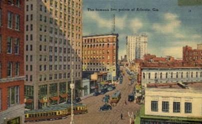 The Famous Five Points of Atlanta - Georgia GA Postcard