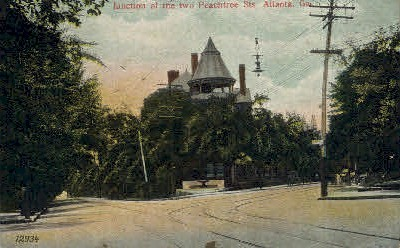 Junction of the two Peachtree Sts. - Atlanta, Georgia GA Postcard