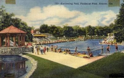 Swimming Pool, Piedmont Park - Atlanta, Georgia GA Postcard