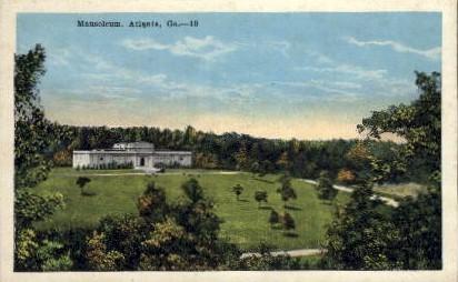 Mausoleum - Atlanta, Georgia GA Postcard