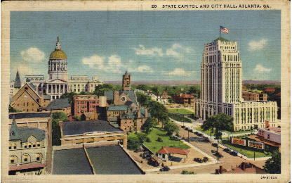 State Capitol and City Hall - Atlanta, Georgia GA Postcard