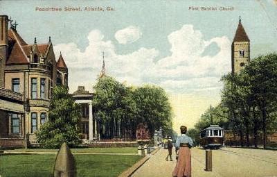 First Baptist Church, Peachtree St. - Atlanta, Georgia GA Postcard