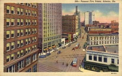Famous Five Points - Atlanta, Georgia GA Postcard