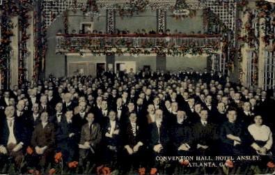 Convention Hall, Hotel Ansley - Atlanta, Georgia GA Postcard