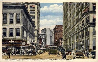 Broad St., Marietta St. - Atlanta, Georgia GA Postcard