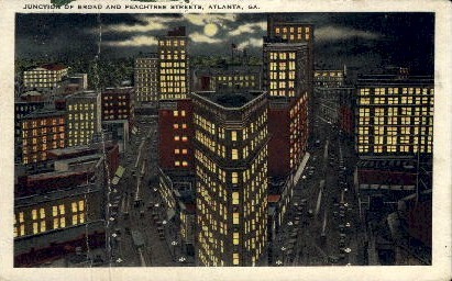 Broad and Peachtree Streets - Atlanta, Georgia GA Postcard