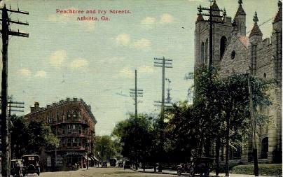 Ivy and Peachtree Streets - Atlanta, Georgia GA Postcard