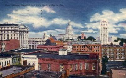 Court House, Capitol and City Hall - Atlanta, Georgia GA Postcard
