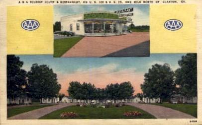 A & A Tourist Court & Restaurant - Claxton, Georgia GA Postcard