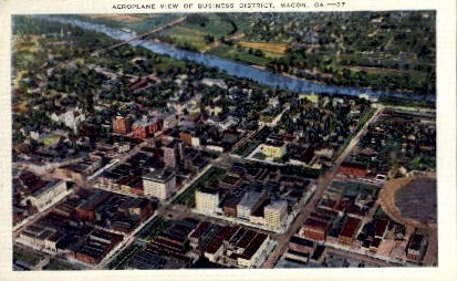 View of Business District - Macon, Georgia GA Postcard