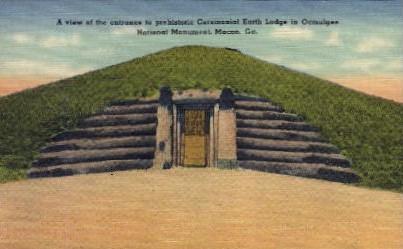 Prehistoric Ceremonial Earth Lodge  - Macon, Georgia GA Postcard