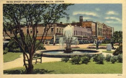 Third Street Park and Fountain - Macon, Georgia GA Postcard