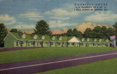 Courtesy Court - Macon, Georgia GA Postcard