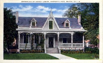 Birthplace of Sidney Lanier - Macon, Georgia GA Postcard