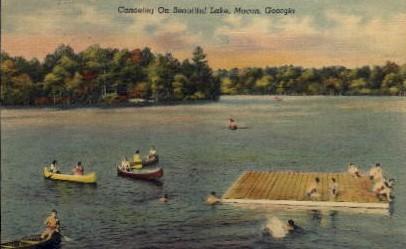 Canoeing on Beautiful Lake - Macon, Georgia GA Postcard