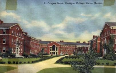 Campus Scene, Wesleyan College - Macon, Georgia GA Postcard