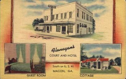 Flanagan's Court and Hotel - Macon, Georgia GA Postcard