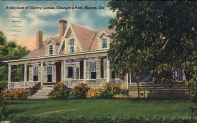 Birthplace of Sidney Lanier, Poet - Macon, Georgia GA Postcard