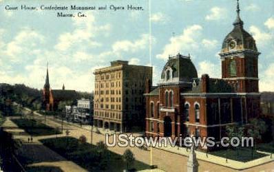 Court House, Confederate Monument - Macon, Georgia GA Postcard