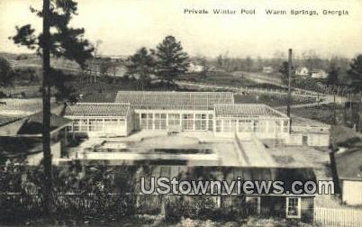 Private Winter Pool - Warm Springs, Georgia GA Postcard
