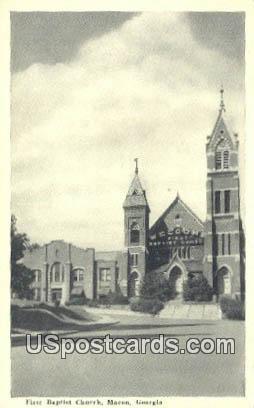 First Baptist Church - Macon, Georgia GA Postcard