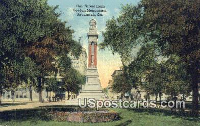 Bull Street, Gordon Monument - Savannah, Georgia GA Postcard