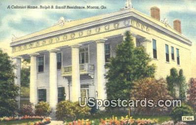 Colonial Home, Ralph B Small Residence - Macon, Georgia GA Postcard