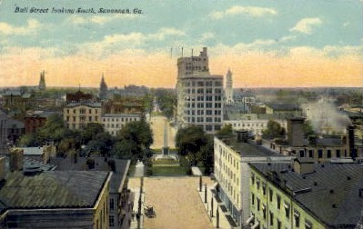 Bull Street looking South - Savannah, Georgia GA Postcard
