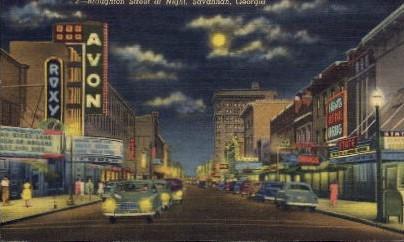 Broughton Street at night - Savannah, Georgia GA Postcard