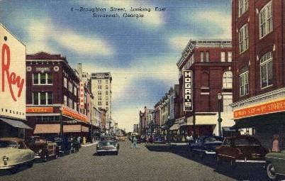 Broughton Street - Savannah, Georgia GA Postcard