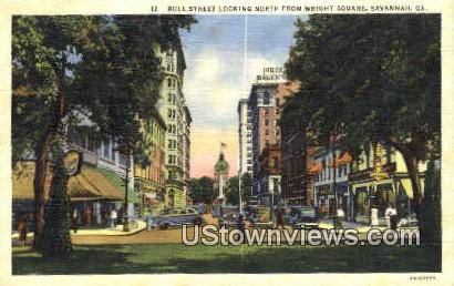 Bull Street, Wright Square - Savannah, Georgia GA Postcard