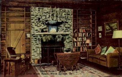 Little White House Living Room - Warm Springs, Georgia GA Postcard