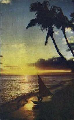 Sunset - Waikiki, Hawaii HI Postcard
