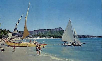 Catamarans - Waikiki, Hawaii HI Postcard