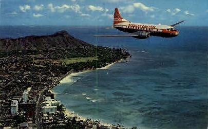 Hawaiian Airlines Super Convair - Waikiki Postcard