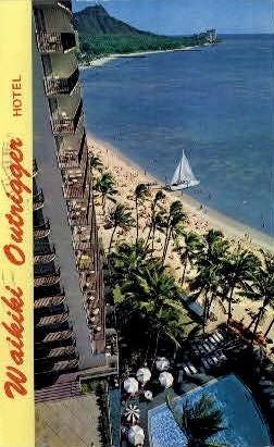 Waikiki Outrigger Hotel - Hawaii HI Postcard