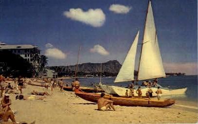 Waikiki Beach - Hawaii HI Postcard