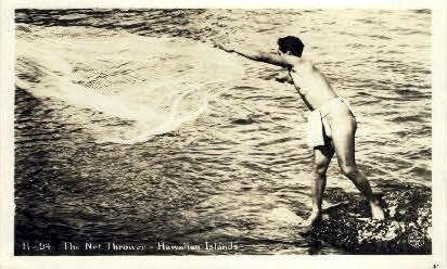 The Net Thrower - Hawaiian Islands Postcards, Hawaii HI Postcard