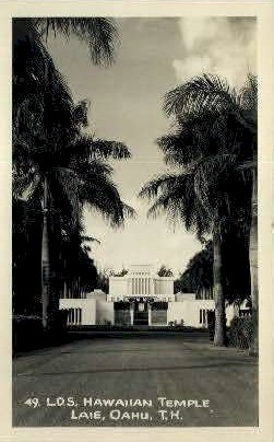 L.D.S. Hawaiian Temple - Laie Postcard