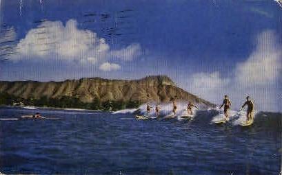 Surfing - Waikiki, Hawaii HI Postcard