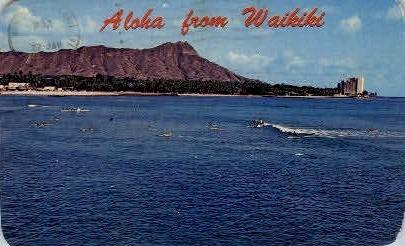 Aloha From - Waikiki, Hawaii HI Postcard