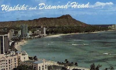 Waikiki & Diamond Head - Hawaii HI Postcard