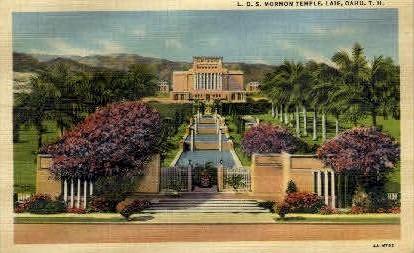 L.D.S. Mormon Temple - Laie, Hawaii HI Postcard