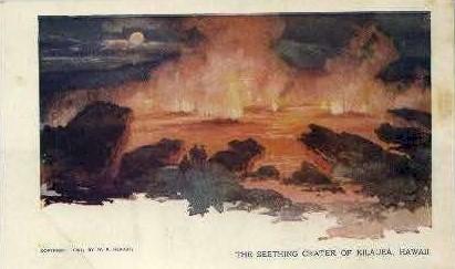The Seething Crater - Kilauea, Hawaii HI Postcard