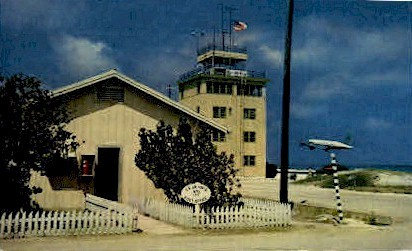 Post Office, Tower, & C-54 on Take off - Johnston Island, Hawaii HI Postcard