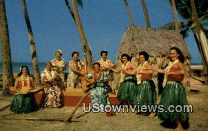 Hula Show - Kapiolani Park, Hawaii HI Postcard