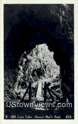Lava Tube, Real Photo - Hawaii National Park Postcards, Hawaii HI Postcard