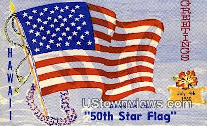50th Star Flag - Misc, Hawaii HI Postcard